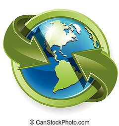 groen globe, pijl