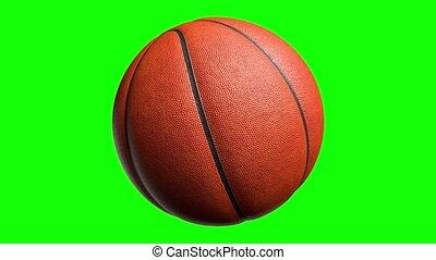 groene, 4k, het spinnen, 3d, basketbal, channel., vertolking, alfa, animatie, bal, scherm