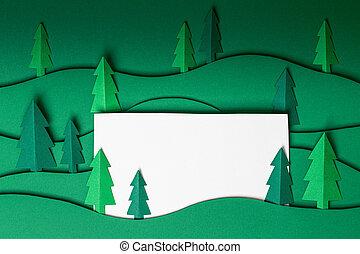 groene, achtergrond., kunstwerk, kerstmis, 3d, bomen, knallen, papier, uit