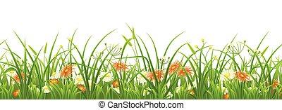 groene, bloemen, gras, seamless