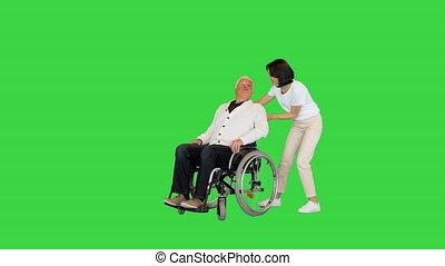 groene, chroma, key., invalide, boeiend, wheelchair, vrouw, jonge, scherm, haar, thuis, finally, vader
