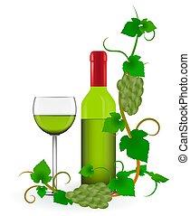 groene, frame, druif, wijngaarden