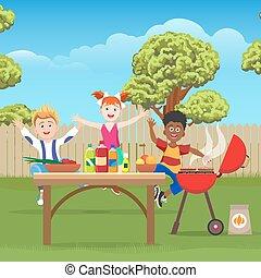 groene, geitjes, picknick, tuin