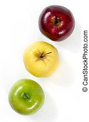 groene, gele, rode appel