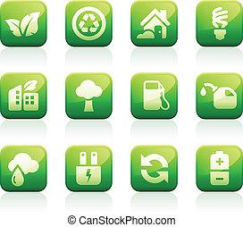 groene, glanzend, iconen