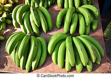 groene, jonge, banaan