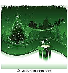 groene, kerstmis kaart, groet