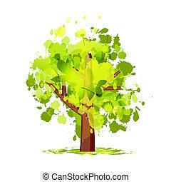 groene samenvatting, boompje, jouw, ontwerp