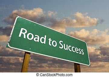 groene, straat, succes, meldingsbord