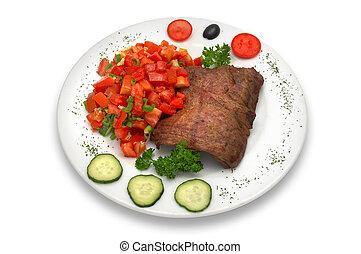 groente, grilled, kalfsvlees, filet, slaatje