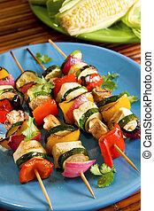 groente, skewers, tofu