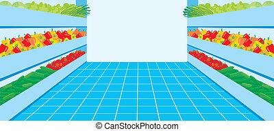 groente, supermarket., getal