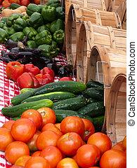 groente, zomer, produceren, buitenmarkt