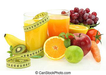 groentes, dieet, sap, vruchten, fris, nutrition.
