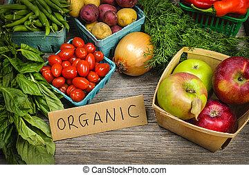 groentes, organisch, markt, vruchten