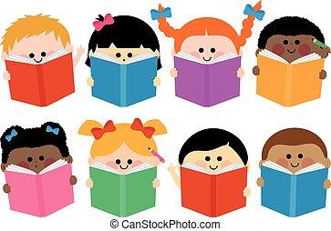 groep, books., illustratie, vector, lezende , kinderen