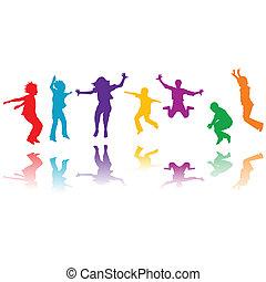 groep, hand, silhouettes, springt, getrokken, kinderen