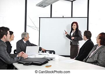 groep, kantoor, zakenlui, vergadering, -, presentatie