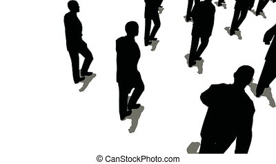 groep, mensen, bovenzijde, vorm, richtingwijzer, het marcheren, aanzicht