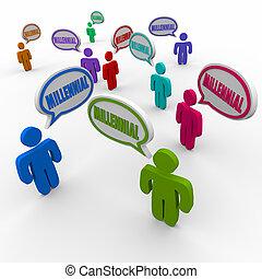 groep, mensen, generatie, duizendjarig, klesten, toespraak, y, bel