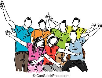 groep, mensen, illustratie, vector, viering, vrolijke
