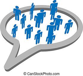 groep, mensen, media, toespraak, sociaal, bel, praatje
