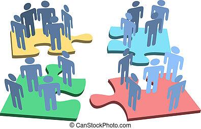 groep, mensen, raadsel, oplossing, stukken, menselijk, organisatie