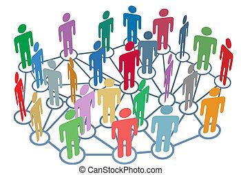 groep, netwerk, mensen, media, sociaal, velen, praatje