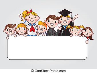 groep, student, vrolijk, vasthouden, spandoek, advertentie