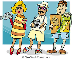 groep, toerist, illustratie, spotprent