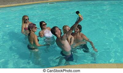 groep, villa, boeiend, water, vrienden, selfie, pool