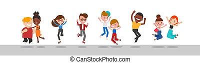 groep, vrolijke , anders, jumping., mensen