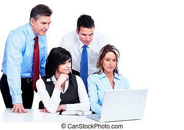 groep, working., zakenlui