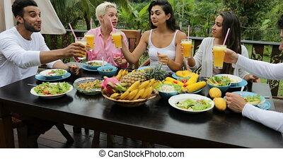 groep, zittende , gezonde , communicatie, vegetariër, mensen, voedingsmiddelen, tropische , sap, eten, terras, tafel, clink, vrienden, bril