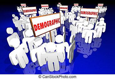 groepen, doelmarkt, tekens & borden, niche, demografisch, gemeenschap, 3d
