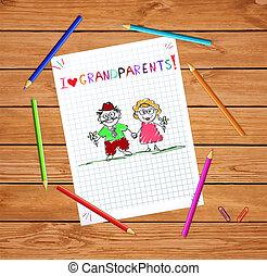 groet, hand, opa, samen., oma, getrokken, kinderen, kaart