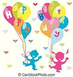 groet, jarig, ballons, kinderen, kaart, vrolijke