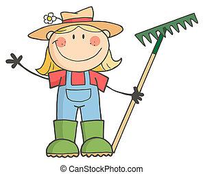 groet, meisje, tuinieren, zwaaiende