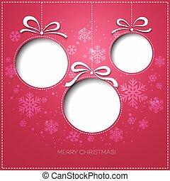 groet, papier, ontwerp, vrolijk, bauble., kerstmis kaart