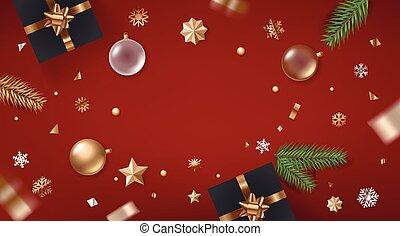 groet, spandoek, aanzicht, vakantie, bovenzijde, gouden, confetti., frame., bauble