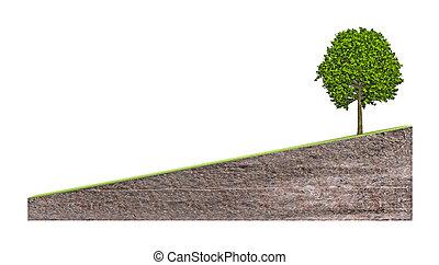 grond, boompje, bias, bankstel