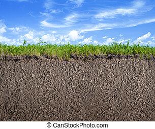 grond, natuur, terrein, hemel, achtergrond, gras