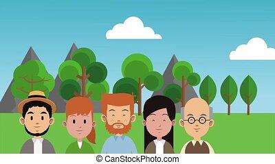 groot, animatie, park, hd, gezin