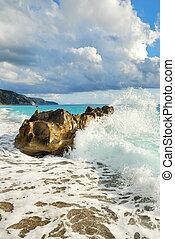 groot, brekende golf, zee, rots, strand
