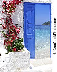 groot, deur, eiland, traditionele , griekse , santorini, griekenland, aanzicht