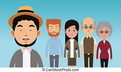 groot, gezin, animatie, stripfiguren, hd