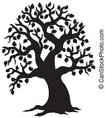 groot, leafy, silhouette, boompje