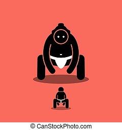 groot, minuscuul, vs, sumo, fighter., japanse mens