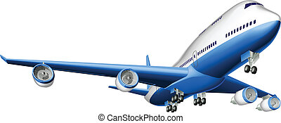 groot, passagiersvliegtuig, illustratie