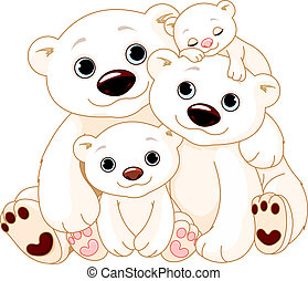 groot, polar bear, gezin